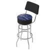 NHL Swivel Bar Stool with Back - Watermark - Columbus Blue Jackets�