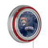 NHL Chrome Double Rung Neon Clock - Watermark - Florida Panthers?