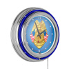 Police Officer Chrome Double Ring Neon Clock