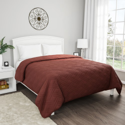 Brown Quilt Coverlet- For King Size Beds-Basket Weave Quilted Pattern-Soft & Lightweight Bedding for All Seasons- Solid Color Bedspread by Lavish Home