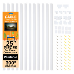 Wall Cable Concealer Cover - 12, 25? Raceways - 300? Cord Management, White