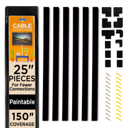 Simple Cord Cable Concealer On-Wall Cord Covers with 6, 25? Raceways ? 150? Cable Management System Hides Cords, Wires for Wall TVs, Computers ? Black