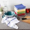 16-Piece Kitchen Dish Cloth Set-Solid and Striped Waffle Weave Wash Cloths- 100% Cotton Wash Cloths for Cleaning by Weymouth Home
