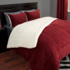 Hastings Home Sherpa Twin Comforter Set, Burgundy