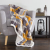 Lavish Home Fleece Sherpa Blanket Throw - Plaid Yellow/Grey