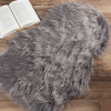 Sheepskin Throw Rug ? Faux Fur 2x3-Foot High Pile Soft and Plush Mat for Bedroom, Kitchen, Bathroom, Nursery and Office by Lavish Home (Gray)