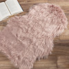 Sheepskin Throw Rug ? Faux Fur 2x3-Foot High Pile Soft and Plush Mat for Bedroom, Kitchen, Bathroom, Nursery and Office by Lavish Home (Pink)