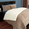 Hastings Home Sherpa Twin Comforter Set, Taupe