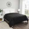 Black Quilt Coverlet- Full/Queen Size- Basket Weave Quilted Pattern- Soft & Lightweight Bedding for All Seasons- Solid Color Bedspread by Lavish Home