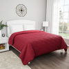 Burgundy Quilt Coverlet- Full/Queen Size- Basket Weave Quilted Pattern-Soft & Lightweight Bedding for All Seasons-Solid Color Bedspread by Lavish Home