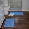 Bathroom Rug Set- 2-Piece Memory Foam Bath Mats- Wavy Microfiber Top-Non-Slip Absorbent Runner for Shower, Tub, Sink, or Kitchen by Lavish Home (Blue)