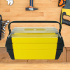 3-Tier Parts & Crafts Toolbox- 18? Cantilever Style Utility Box with 5 Compartments for Tools, Tackle, Toys & Art Storage by Stalwart (Yellow)