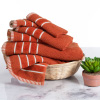 6-Piece Bath Towel Set- 100% Combed Cotton in a Rice Weave Pattern- 2 Bath Sheets, 2 Hand Towels and 2 Washcloths by Weymouth Home (Brick Orange)