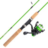 Youth Fishing Rod & Reel Combo-5?2? Fiberglass Pole, Spinning Reel, Cork Handle & Tackle Kit for Beginners-Kettle Series by Wakeman Outdoors (Green)