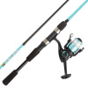 Fishing Rod & Reel Combo-6? Fiberglass Pole, Spinning Reel for Beginners-Pre-Spooled with 10lb Test Breakline Series by Wakeman Outdoors (Turquoise)