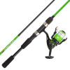 Fishing Rod & Reel Combo-6? Fiberglass Pole, Spinning Reel for Beginners-Pre-Spooled with 10lb Test Line Breakline Series by Wakeman Outdoors (Green)