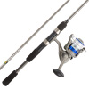 Fishing Rod & Reel Combo -6?6? Fiberglass Pole, Spinning Reel- Bass, Trout & Lake Fish-Spooled with 10lb Test-Action Series by Wakeman Outdoors (Blue)