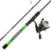 Fishing Rod & Reel Combo- 6?6? Carbon Pole, Spinning Reel & Golf Grip Handle- Bass, Trout & Lake Fish- Channel Series by Wakeman Outdoors (Green)