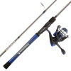 Fishing Rod & Reel Combo- 6?6? Carbon Pole, Spinning Reel & Golf Grip Handle- Bass, Trout & Lake Fish- Channel Series by Wakeman Outdoors (Blue)