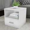 End Table ? Stackable Contemporary Minimalist Modular Cube Accent Table with Drawer for Bedroom, Living Room or Office by Lavish Home (White)