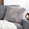 18? Himalayan Faux Fur Pillow ? Luxury Plush Square Accent Pillow Insert and Shag Glam Cover Set? For Bedroom or Living Room by Lavish Home (Gray)