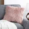 18? Himalayan Faux Fur Pillow ? Luxury Plush Square Accent Pillow Insert and Shag Glam Cover Set? For Bedroom or Living Room by Lavish Home (Pink)
