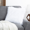 18? Himalayan Faux Fur Pillow ? Luxury Plush Square Accent Pillow Insert and Shag Glam Cover Set? For Bedroom or Living Room by Lavish Home (White)