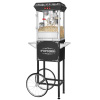 Foundation Popcorn Machine with Cart- Popper Makes 3 Gallons- 8-Ounce Kettle, Old Maids Drawer, Warming Tray & Scoop by Great Northern Popcorn (Black)