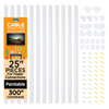 300? Cord Concealer Kit - 12, 25? Raceways (White)