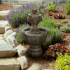 32-Inch Outdoor Water Fountain- 2 Tiers of Soothing Water Flow- Regal Lions Head Decoration with an Antique Finish by Earth Worth