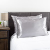 Luxury Satin Pillowcase- Set of 2 Queen Size Zippered Covers- Prevents Moisture Loss, Sleep Lines and Hair Breakage by Weymouth Home (Silver)