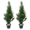 Artificial Cedar Trees- Set of Two 34-Inch Potted Evergreen Bushes? Natural Looking Plant for Indoor and Outdoor Use by Earth Worth