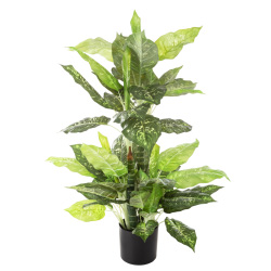 Artificial Dieffenbachia Floor Plant - 40-Inch Potted Faux Greenery for Home or Office Decoration ? Natural Looking Polyester Leaves by Pure Garden