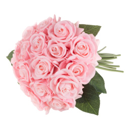 Artificial Open Rose Bundles ? 18PC Real Touch Fake 11.5-Inch Flowers with Stems for Home Décor, Wedding, or Bridal/Baby Showers by Pure Garden (Pink)
