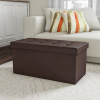 Folding Storage Bench Ottoman?30? Faux Brown Leather-Foam Padded Lid-Removable Bin-Organizer for Home, Bedroom, Living Room & Kid Toys by Lavish Home