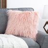 18? Plush Pillow ? Luxury Square Accent Pillow Insert and Shag Glam Cover Set ? For Bedroom or Living Room by Lavish Home (Pink)