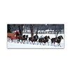 Clydesdales in Snow Covered Field w/ Fence- 14 x 32 Canvas