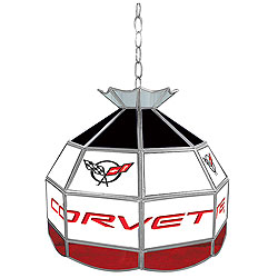 Corvette C5 Stained Glass Billiard Lamp - 16 Inch Diameter