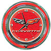 Corvette C6 Neon Clock - 14 inch Diameter - Red