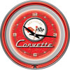 Corvette C1 Neon Clock - 14 inch Diameter - Red