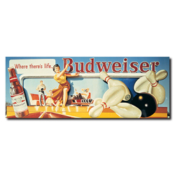 Budweiser Vintage Ad - Bowling Stretched Canvas 14 x 30 Inch