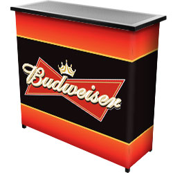 Budweiser Metal 2 Shelf Portable Bar Table w/ Carrying Case