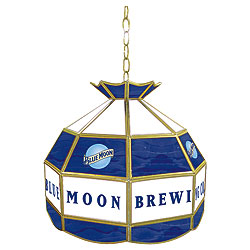 Blue Moon Stained Glass Billiard Lamp - 16 Inch Diameter