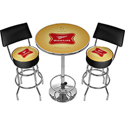 Ultimate Miller High Life Pub Table and Stools with Back
