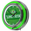 Bud Light Lime-A-Rita Chrome Double Ring Neon Clock
