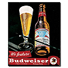 Budweiser Vintage Ad - Bottle & Glass Blk Canvas 18x22 Inch
