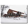 Clydesdales - Snowing in front of Barn - 22x32 Canvas