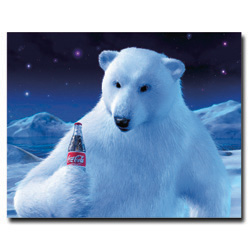 Coke Polar Bear with Coke Bottle  - 19 x 24 Inches
