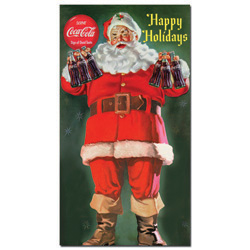 Coke Santa Holding 6 pack of Coca Cola 13 x 24 Inches
