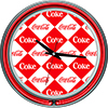 Checker Coca Cola Neon Clock - Two Neon Rings